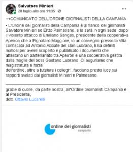 """DOPO IL VIOLENTO ATTACCO DEL PRESIDENTE DELLA COOPERATIVA """"APEIRON�, EMILIANO SANGES, L'ORDINE DEI GIORNALISTI DELLA CAMPANIA SI SCHIERA AL FIANCO DI SALVATORE MINIERI ED ENZO PALMESANO: LA MAGISTRATURA FACCIA LUCE SUL CASO LUBRANO-FELICITÀ"""